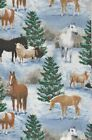 End of bolt_1/2 yard_Christmas tree_horses_sheep_snow_winter_cotton_OOP_RARE