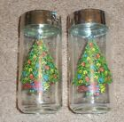 NEW VINTAGE LARGE SALT AND PEPPER SHAKERS SET SETS CHRISTMAS TREES GLASS