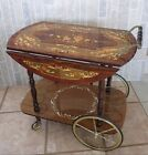 VTG ITALIAN CRAFTED DROP LEAF WOOD INLAY MARQUETRY TEA/LIQUOR/WINE SERVING CART