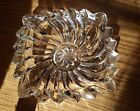 ONE vintage small square ribbed clear glass dish. 4 1/4