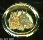 Vintage Glass Paperweight 2 Two Painted Thoroughbred Horse Heads