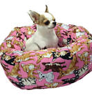 Chihuahuas in Pink Round Pet Bed  Group One Dog Gallery