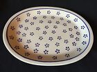 (J-106) Polish Pottery Serving Platter Blue Brown Flower Dot Boleslawiec Poland