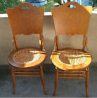 2 Antique Round-Seat Bentwood Dining Chairs - Need Re-Caning