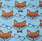 Snuggle Flannel Smart Foxes With Glasses on Blue Apparel General BTY New
