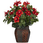 Silk Potted Hibiscus Plant House Office Center Piece Flower Accent Decor Fake