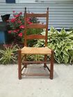 Antique Primitive Shaker Handcrafted Ladderback Side Chair with Rush Seat