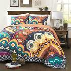 BOLD MODERN ORANGE NAVY TEAL YELLOW GLOBAL GEOMETRIC POP QUILT BEDDING SET NEW