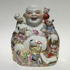 Chinese Antique Happy Porcelain Buddha Children Republic Famille Rose MARKED