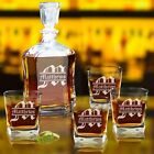 Engraved Whiskey Decanter Set Custom Personalized Monogrammed Name and Initial