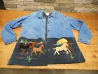 The Quacker Factory Suede Jacket Blue Horses Western Cowboy Ranch Women's Large