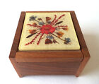 Vintage Reuge MUSIC BOX Jewelry Swiss Wood Pressed Flowers Plays The Magic Flute