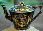 OCCUPIED JAPAN Hand Painted Gold Gilt Floral 'Mini' Teapot Black Gloss Redware