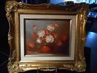 Robert Cox Signed Oil Red & White  Flowers