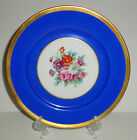 ANTIQUE PORCELAIN PLATE CABINET ROSENTHAL HAND PAINTED GOLD BLUE FLOWERS GERMANY