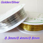 1 Roll DIY Gold Silver Copper Wire String Beading Jewelry Making Craft 03 08mm