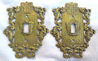 Set of 2 Vtg Virginia Metalcrafters Ornamental Brass Switch Plates 24-17