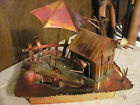 VINTAGE COPPER BRASS MUSIC BOX  UMBRELLA WINDS UP TEETER TOTTER MOVES