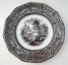 Antique 1850s John Alcock VINCENNES Flow Black Mulberry Transferware Plate 9