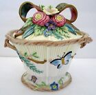Fitz & Floyd Classics Woodland Spring Candy Dish Box Flowers Ribbon Butterfly 6