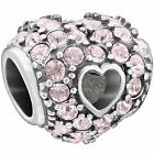 Authentic Chamilia Bead Pave Open Heart Vintage Rose Swarovski 2025 1041