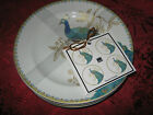 222 FIFTH PEACOCK GARDEN - ROUND APPETIZER PLATES - SET OF 8 - NEW