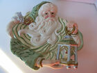 Fitz & Floyd Canape or Wall Plate Santa with Green Hat Coat Gregorian Collection
