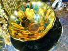 VINTAGE QUEEN ANNE TEA CUP AND SAUCER STUNNING HP YELLOW ROSES ON PURE GOLD FAB!