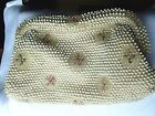 vintage LUMURED CORDE BEAD Ladies clutch bag 1940's white pink cream and green