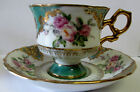 VINTAGE SHAFFORD JAPAN GREEN LUSTER WARE FOOTED CUP SAUCER GOLD FLORAL