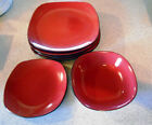Home Styles Dinnerware - Red Square Stoneware - 4 Dinner Plates/1 Bowl/1 Salad