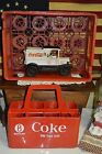 VINTAGE TOY CAST IRON COCA COLA 1930 STYLE DELIVERY TRUCK+RARE PLASTIC CARRIERS