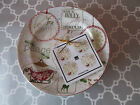 NEW 222 Fifth Christmas Tags Round Mini Appetizer/Dessert Plates