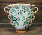VINTAGE ITALIAN ITALY VASE URN NUMBERED HAND PAINTED FLORAL HANDLES POTTERY