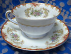 Noritake China Tea Cup Saucer Occupied Japan Red Gold Floral Swag Vintage