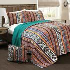 Bold Rustic Orange Turquoise Yellow Global Aztec Print 4 Piece Quilt Bedding Set