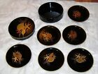 Set of 6 VINTAGE BLACK LACQUER Gold Shells COASTERS w/ Box