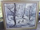 MORRIS KATZ OIL PAINTING ON CANVAS ORIGINAL SIGNATURE 1989 WITH FRAME DEER