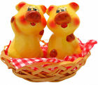 New Animal Salt and Pepper Shakers Pigs in Basket