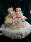 VINTAGE GERMAN BISQUE LIDDED BOWL JEWELRY/TRINKET BOX WITH CHERUBS AND FLOWERS