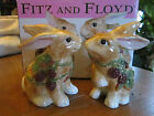 Fitz & Floyd Blackberry Rabbit Salt & Pepper Shakers   In original box