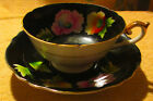 Teacup and Saucer Black and Floral Made in Occupied Japan - Chugai China