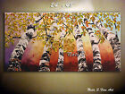 Fall Tree Original Abstract Large Painting.Palette Knife.Birch Forest by Nata S.