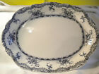 ANTIQUE BLUE AND WHITE IRONSTONE PLATTER, C1870