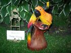 Wood Carved Sculpture Two Parrots Hand Made of One Solid Tree Trunk Beautiful!
