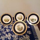 4 Wonderful French Hand Painted Cobalt Blue Gold Trimmed Plates w/ Water Scenes