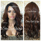 Lace Front Wig Ombre Brown Color Mixed #27 Dark Roots Long Layers Bangs Heat Ok