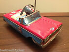 ALPS Japan Tin Litho Friction Happy Pup Ford Toy Car 1960 Vtg Mechanical Nice!