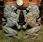 VINTAGE OPPOSING CROWN OF COATS LION CAST BRASS WALL HANGER HOME DECOR RARE