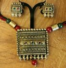 Green N Red Beads Antique Gold Plated Temple Jewelry Necklace Set With Earrings